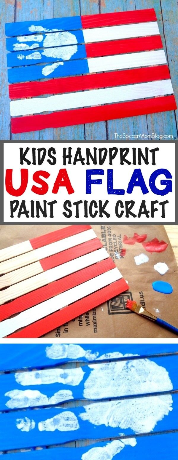 Paint Stick American Flag Handprint Craft for Kids