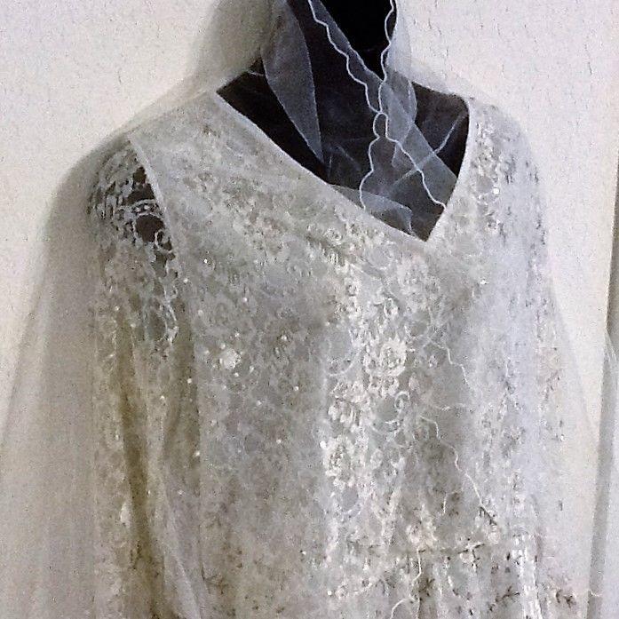 2pc Ashro Ashley Beaded Lace Off White Set with Veil - Formal/Bridal | eBay