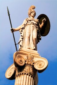 This statue at the Academy of Athens depicts Athena, the Greek goddess of learning