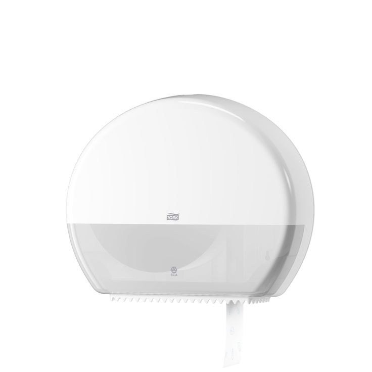 Tork Jumbo Toilet Roll Dispenser:The Tork jumbo system (T1) is suitable for high capacity span locations. (System: T1 - Jumbo toilet system; Material: Plastic; Height: 360 mm, Width: 437 mm, Depth: 133 mm; Color: White) Get more information about this product at: http://bimobject.com/en/sca-eu/product/554000/sca-tork-eu