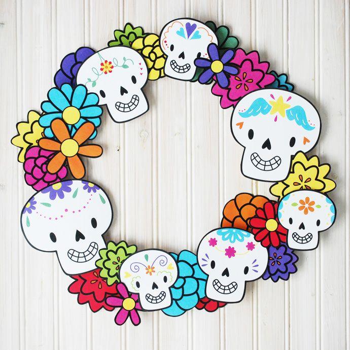 Dia De Los Muertos Wreath