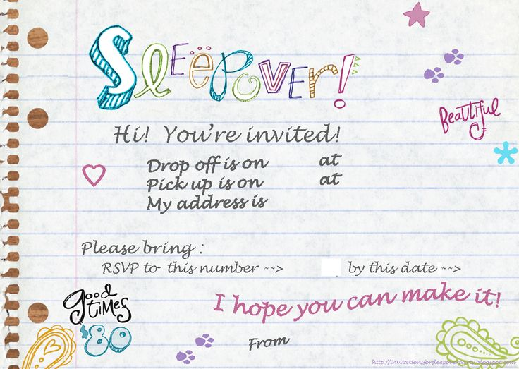 198 best Printable - Sleepover - Party for kids images on Pinterest