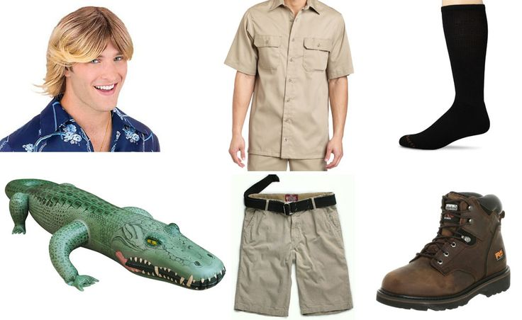 Crocodile hunter costume. Hiking boots. Khaki pants and tan/khaki shirt. Long dark colored socks a must. Hair doesn't matter