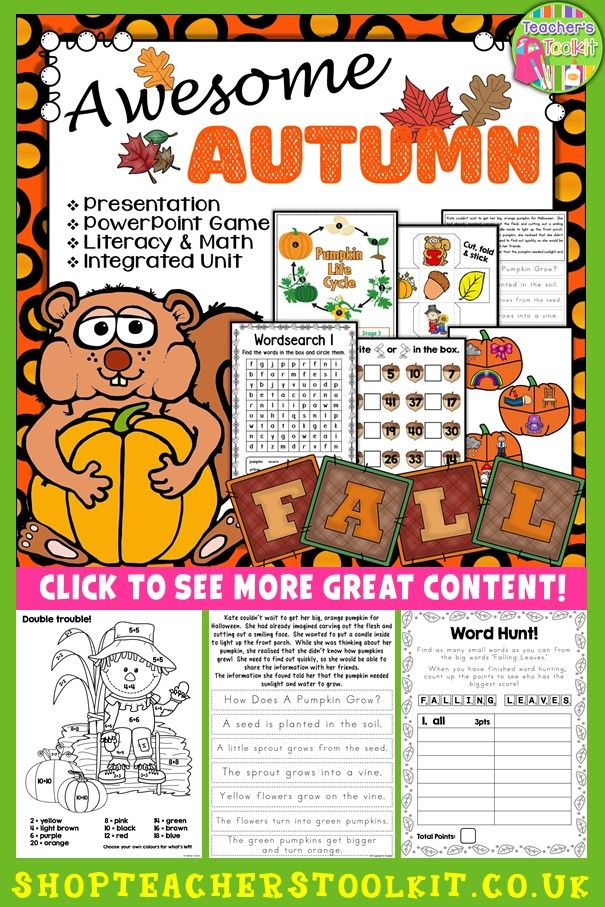 Autumn Autumn Integrated Unit I Love Autumn Pinterest