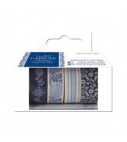 Samolepiaca papierová páska 4ks Parisienne Blue
