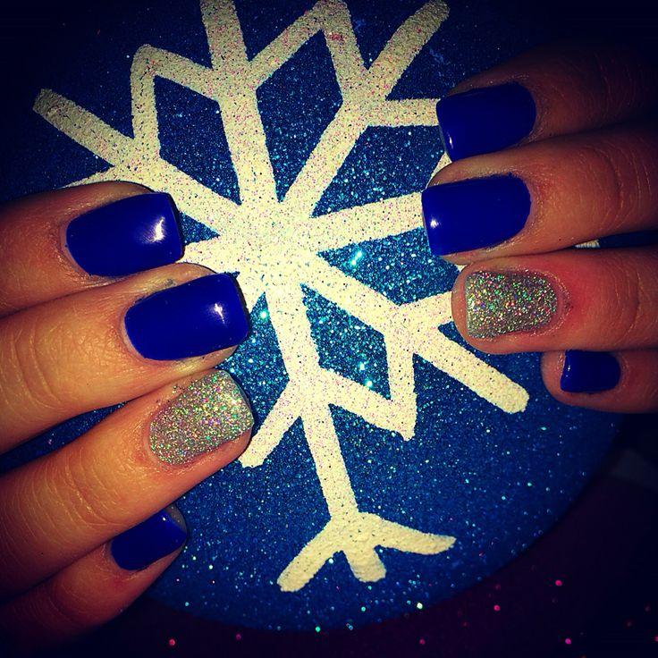 Snowflake blue , holiday nails