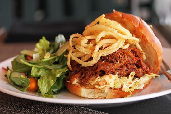 Baleen Burger... Looks like coleslaw, pulled pork and fries! Sounds so yummy!