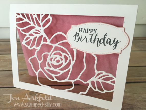 handmade card from Stamped Silly: Creation Station ... Rose Garden Framelet framed ... negative space showing all around ... fab look ...  Stampin' Up!