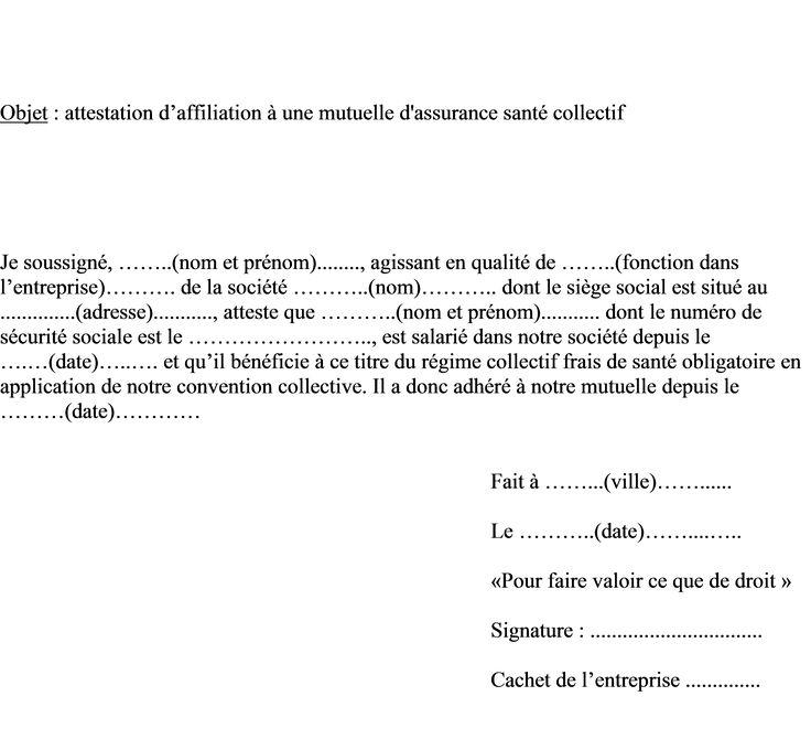 Connu Modèle attestation employeur pour résiliation de mutuelle privée  YA76