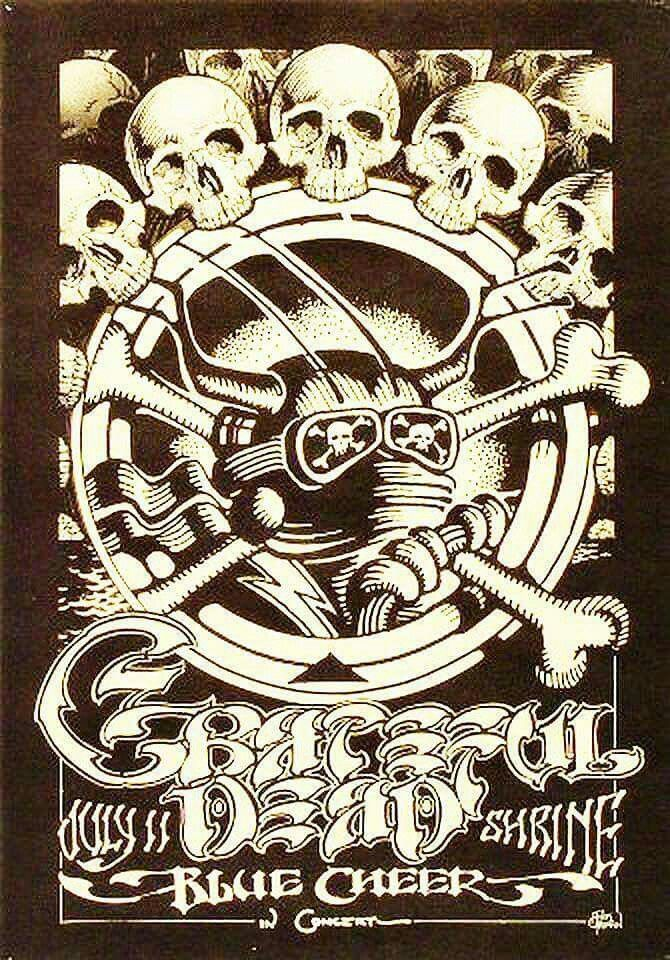 This one was for a show that was supposed to take place on this day back in 1968 but was canceled! It was to be The Grateful Dead and Blue Cheer at the Shrine Auditorium in Los Angeles.  Artist: Rick Griffin.