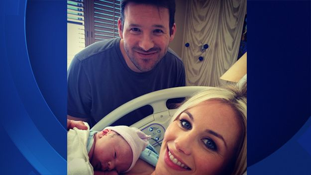 Tony & Candice Romo share picture of new son, Rivers.