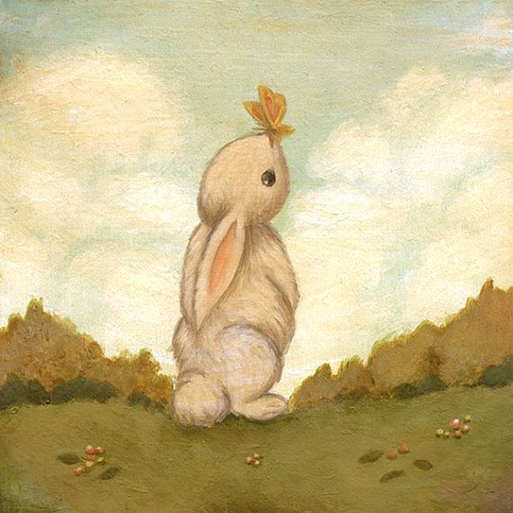 Bunny Rabbit, Nursery Art Print for Baby and Children, Children's Art, Butterfly, Kids Decor, Baby, Cute, Kids Art - Hello Butterfly