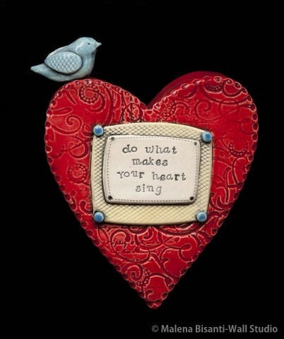 Do What Makes Your Heart Sing ceramic wall sculpture. © Malena Bisanti-Wall. www.mbwstudio.com.