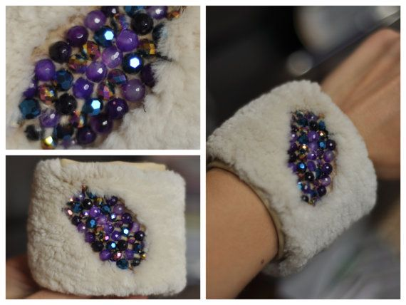 Bracelet with beaver fur glass crystals amethyst by MamaMadelt, €35.00