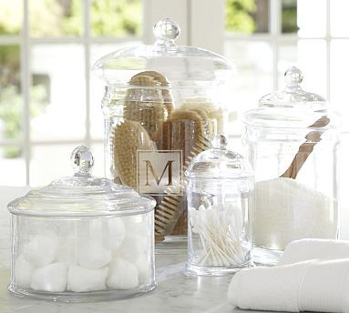 PB Classic Glass Canister #potterybarn  Our PB Classic Glass Canisters come in assorted shapes and sizes to store everyday essentials from bath beads to cotton balls.        Hand blown.      Monogramming is available for an additional charge.      Available in 4 sizes.