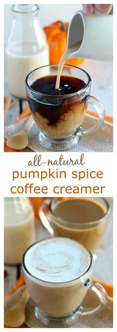 All-Natural Pumpkin Spice Creamer - Homemade pumpkin spice coffee creamer made with all natural ingredients, and no refined sugar. Filled with subtle flavors of pumpkin, warm spices, and vanilla, and sweetened with maple syrup.