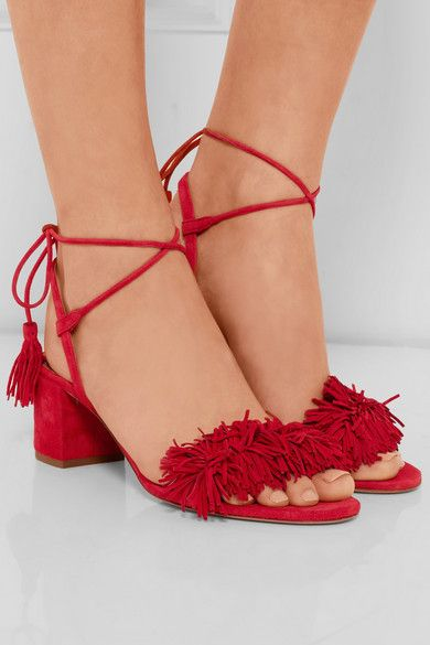 Heel measures approximately 50mm/ 2 inches Red suede Ties at ankle Designer color: Lipstick Made in Italy