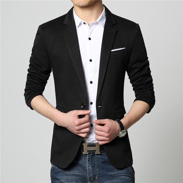 New Fashion Casual Men Blazer Cotton Slim Suit