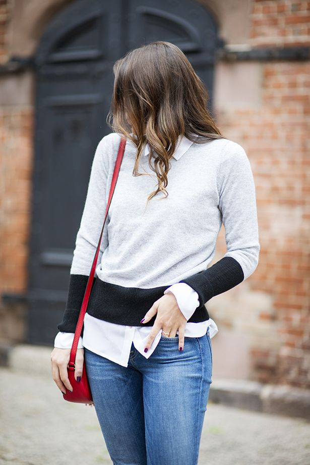 { colorblock sweater and prep school style by Samantha Metell of Bonjour Blue }