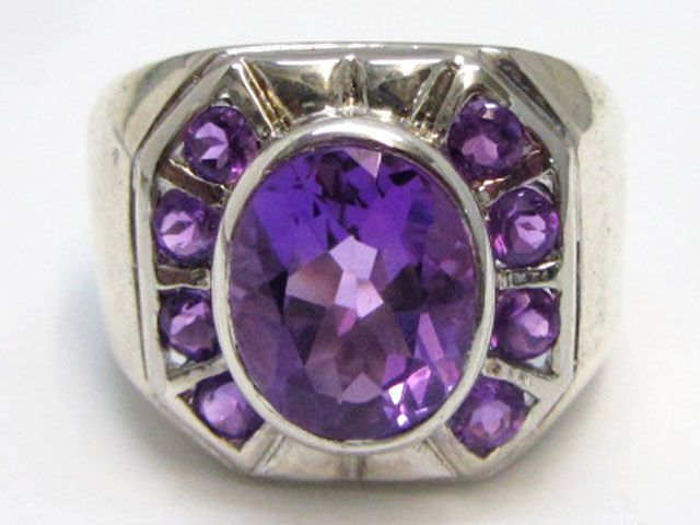 Attractive Amethyst   Silver Ring size   7     MJA 779  NATURAL AMETHYST GEMSTONE RING   FROM GEMROCKAUCTIONS.COM