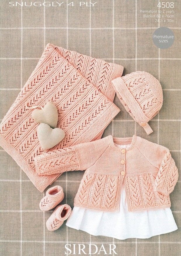 Coat, Bonnet, Booties and Blanket in Sirdar Snuggly 4 ply (4508) | Deramores