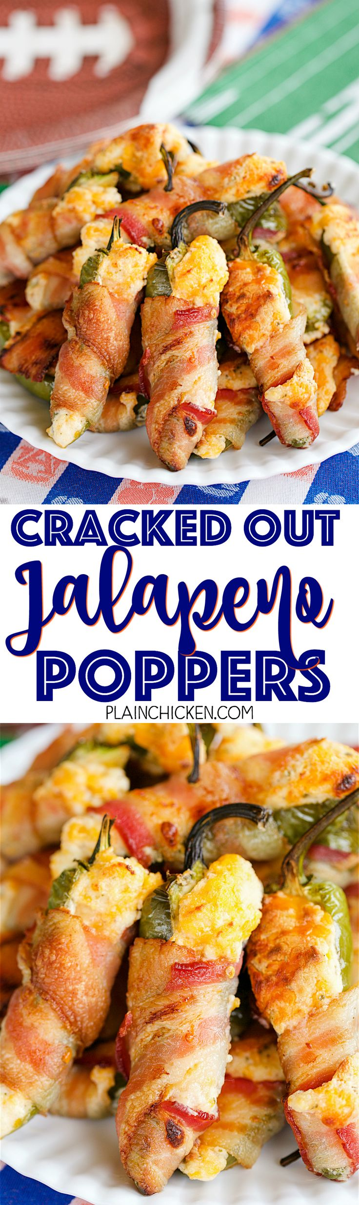 Cracked Out Jalapeño Poppers - jalapeños stuffed with cream cheese, cheddar, and Ranch and wrapped in bacon. These things are CRAZY good! I took them to a party and they were gone in a flash! Can make ahead of time and bake when ready. Tastes great warm and at room temperature.