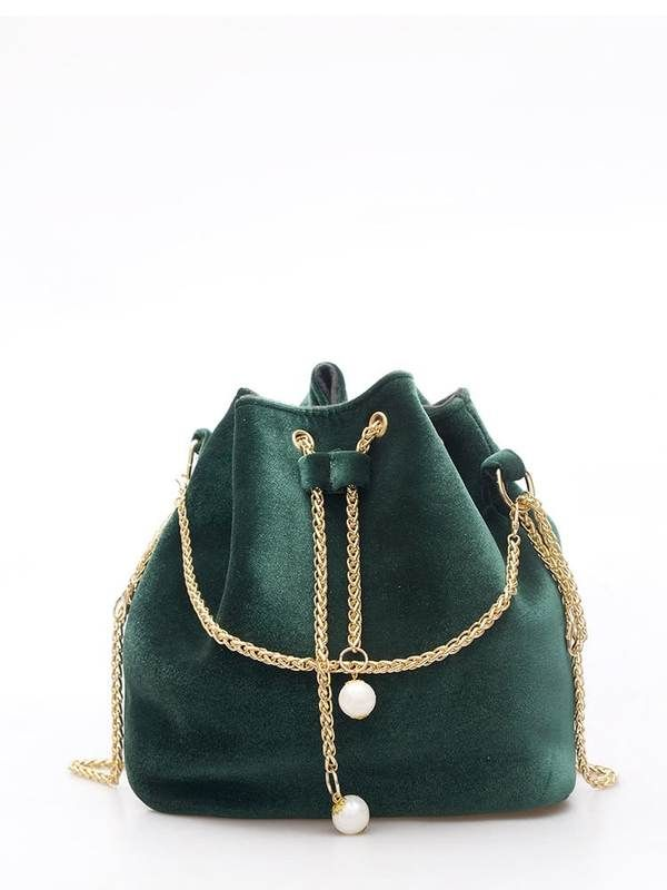 5a99bda281 Suede Bucket Bag With Chain Drawstring And Chain Strap In Green in ...