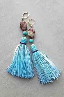 Náušnice - Modro- fialkove nausnicky - 8694890_