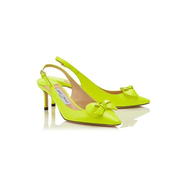 Shocking Yellow Neon Patent Sling Back Pumps (4,990 GTQ) ❤ liked on Polyvore featuring shoes, pumps, yellow patent leather shoes, patent leather slingback pumps, yellow shoes, neon shoes and neon pumps
