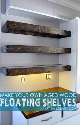 artisan des arts: Aged wood floating shelves - DIY with instructions!