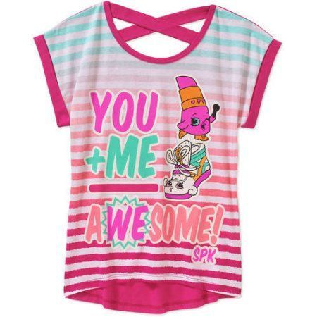 Shopkins Girls' Awesome X Back Hi Lo Graphic Tee, Size: 6/6X, Pink