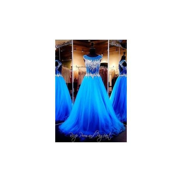 Turquoise Ball Gown with Multi Colored Stones / Rsvp Prom and Pageant... ❤ liked on Polyvore featuring dresses, gowns, turquoise prom dresses, sweetheart ball gown, blue dress, prom ball gowns and blue gown