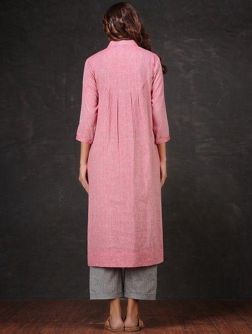 Pink Pleated Mangalgiri Cotton Kurta by Jaypore