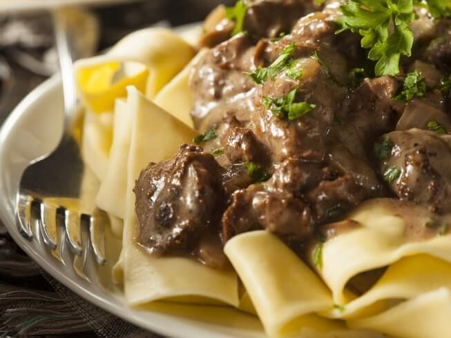 A 5-star recipe for Classic Beef Stroganoff made with beef sirloin steak, mushrooms, onions, garlic, margarine or butter, beef broth, salt