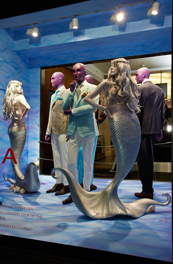 The man and the sirens (although the Sirens were actually half woman and half BIRD, mythologically speaking.  windows display Isaia Harrods London and boutique Milano