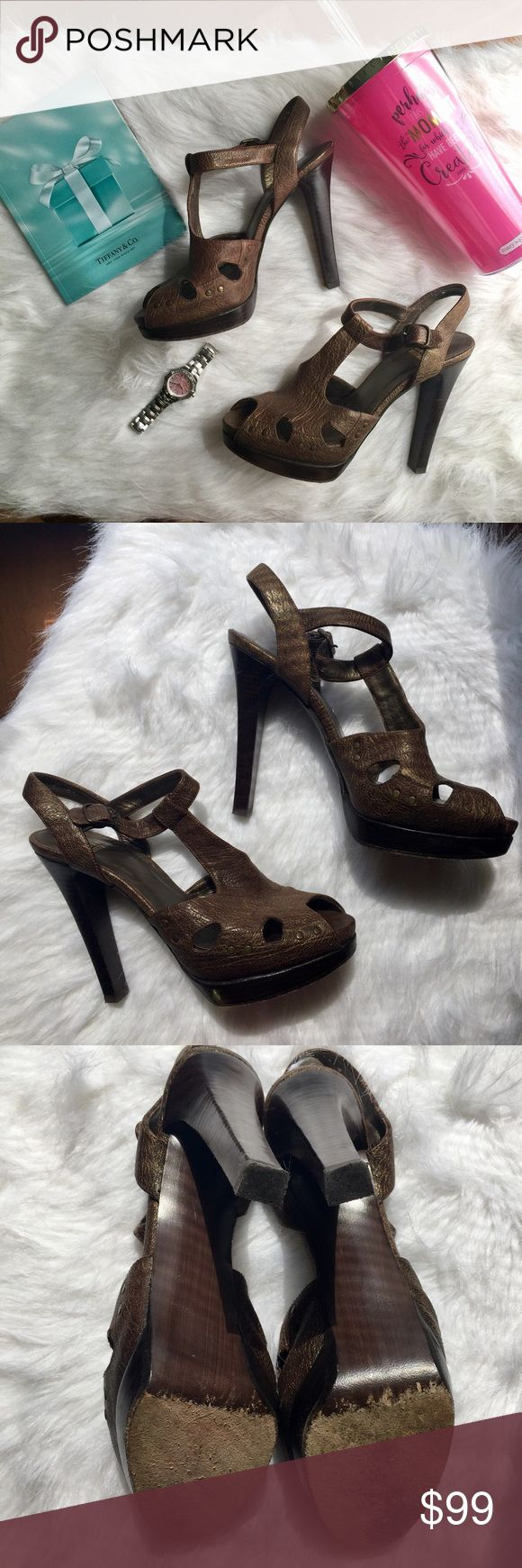 "Stuart Weitzman Teasdale T Strap Double Platform DESCRIPTION These pebbled leather T-strap sandals feature a distressed metallic finish and cutout vamp. Buckled ankle strap. 1.5"" hidden and stacked platform and 4.75"" stacked heel. Leather sole.  * Made in Spain. * Gorgeous but not my size, a size too big but they feel incredible with the double platform support. Stuart Weitzman Shoes Sandals"