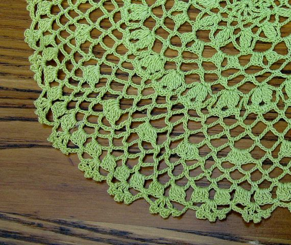 Vintage Crochet Doily Chartreuse by BeautifulPurpose on Etsy