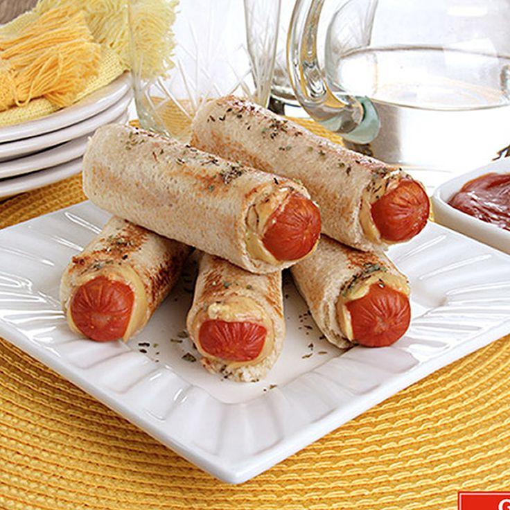 Enroladinho de salsicha com pão de fôrma – Caderno de Receitas
