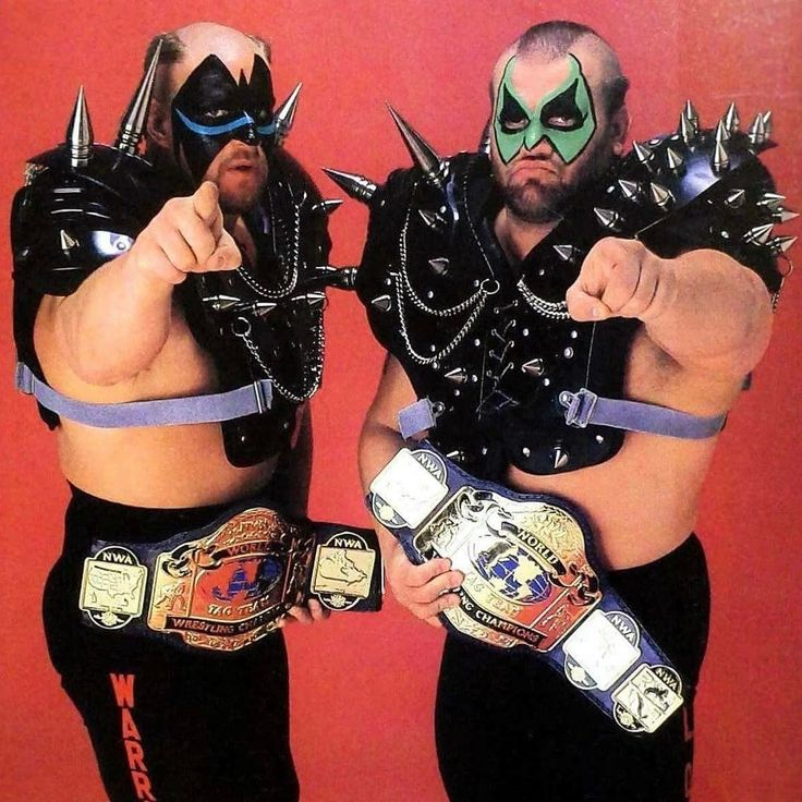 NWA World Tag Team Championship held by the Road Warriors. #nwa #wcw #wrestling #wwe #tagteam #championship #titles #facepaint #badass #jacked #fitness #BMF