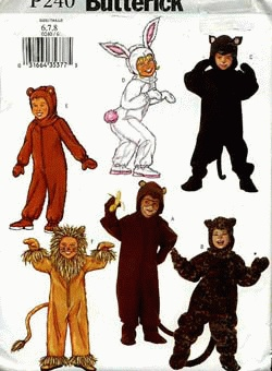 childrens halloween costume pattern new uncut butterick bear rabbit black cat lion monkey leopard sizes 6 7 8 - Childrens Halloween Costume Patterns