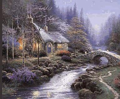Imagem animada com agua correndo no ribeiro da montanha