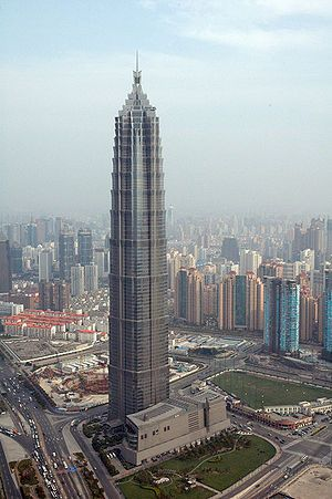 The Jin Mao Tower is an 88-story landmark skyscraper in the Lujiazui area of the Pudong district of Shanghai, China. It contains a shopping mall, offices & the Grand Hyatt Shanghai hotel. It is currently the seventeenth tallest building in the world. It used to be the tallest building in China. The building was built at an estimated cost of US$530 million. It was designed by the Chicago firm of Skidmore, Owings & Merrill.