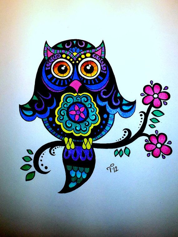 Living Room Decorating Ideas For Apartments For Cheap: Bright Colorful Whimsical Owl Drawing Children's Style