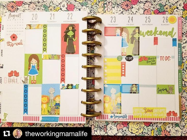 Take a look at this fabulous #weeklyspread from one amazing customer. Love it! #Repost @theworkingmamalife  Wizard of Oz weekly spread. This printable kit from @pelhuaz is so cute! Just a few happy planner stickers to tie it together. #plannerpeace #plannercommunity #beforethepen #plannerstickers #pelhuazplanner #thehappyplanner #wizardofoz #followtheyellowbrickroad #offtoseethewizzard #illgetyoumypretty | Pelhuaz by Red | Handmade Jewelry | Planner Essentials | Planner Accessories | Fun…