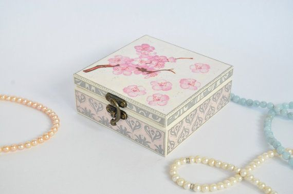 Sakura jewelry box  Trinket box  Jewelry storage  by LekaArt