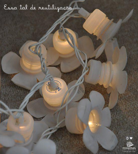 Reciclagem de tampinhas + luzinhas