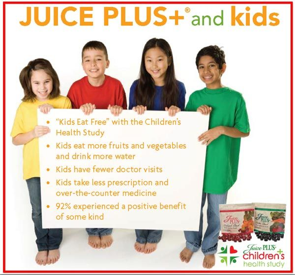 Juice Plus+ Whole Food Supplement for kids ~ Children who are between the ages of 4-18 can take juice plus free by participating in the Children's health study. www.cc4jp.com