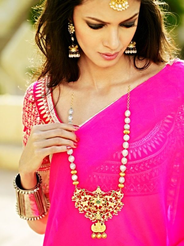 Aaina - Bridal Beauty and Style: This Dress, That Detail: Hot Pink Anita Dongre Saree and Spring Flowers