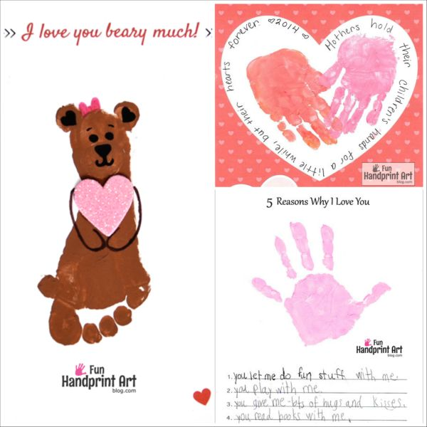 Free Printables for Mother's Day with sweet sayings! Handprint Craft ideas for moms and grandmas.