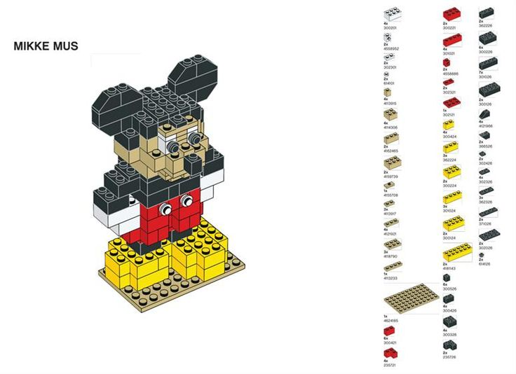 Building Mickey in Lego.